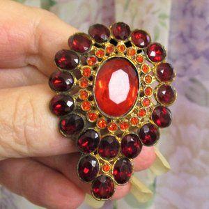 Art Deco Red Rhinestone Convertible Clip